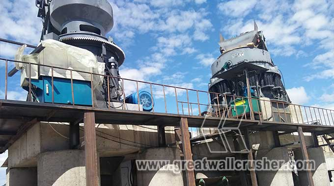 Cone crusher and jaw crusher for 300 t/h diabase crushing plant South Africa